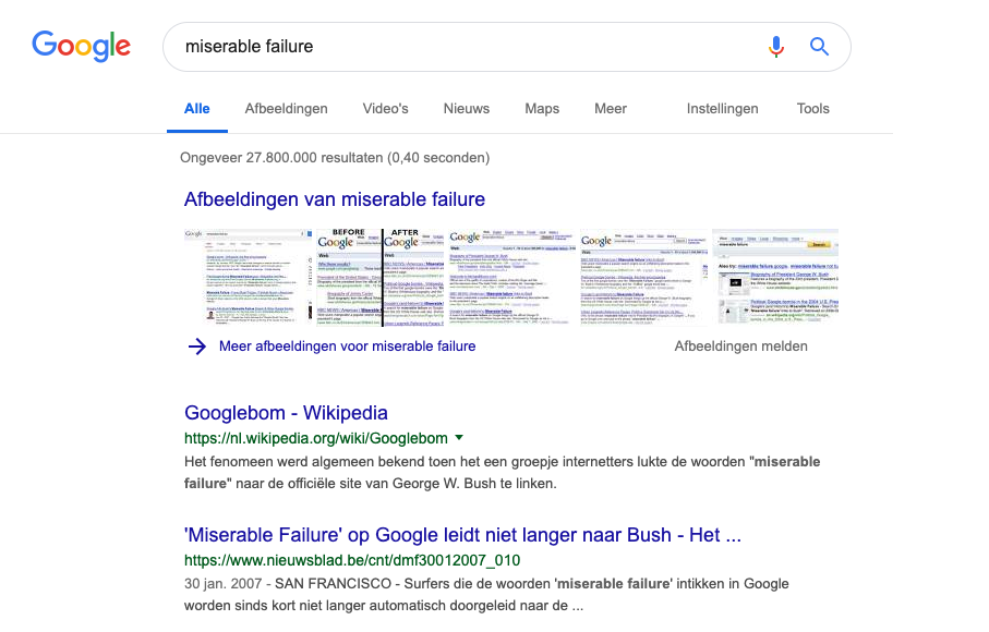 'Miserable failure' is de bekendste Google-bom