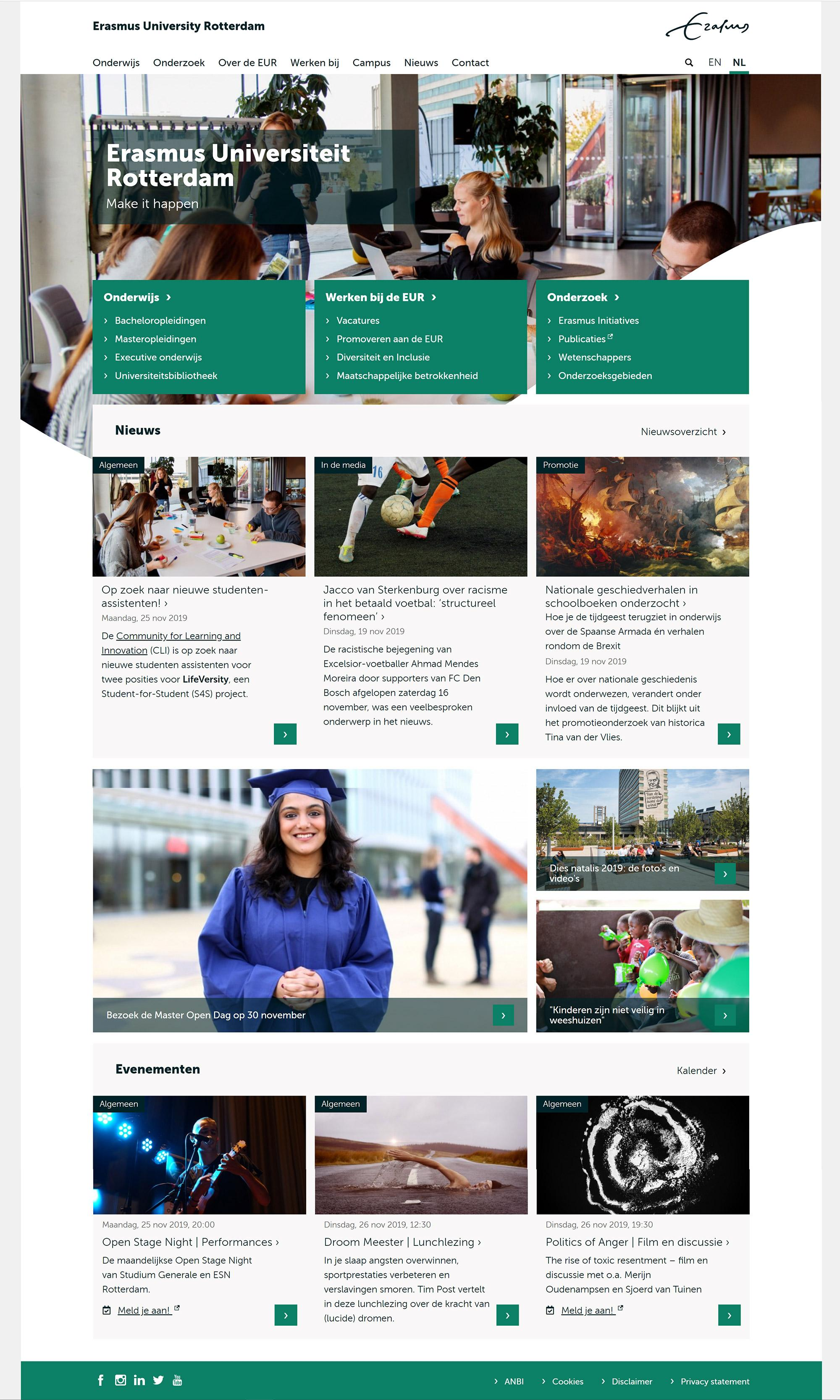 Website Erasmus Universiteit Rotterdam