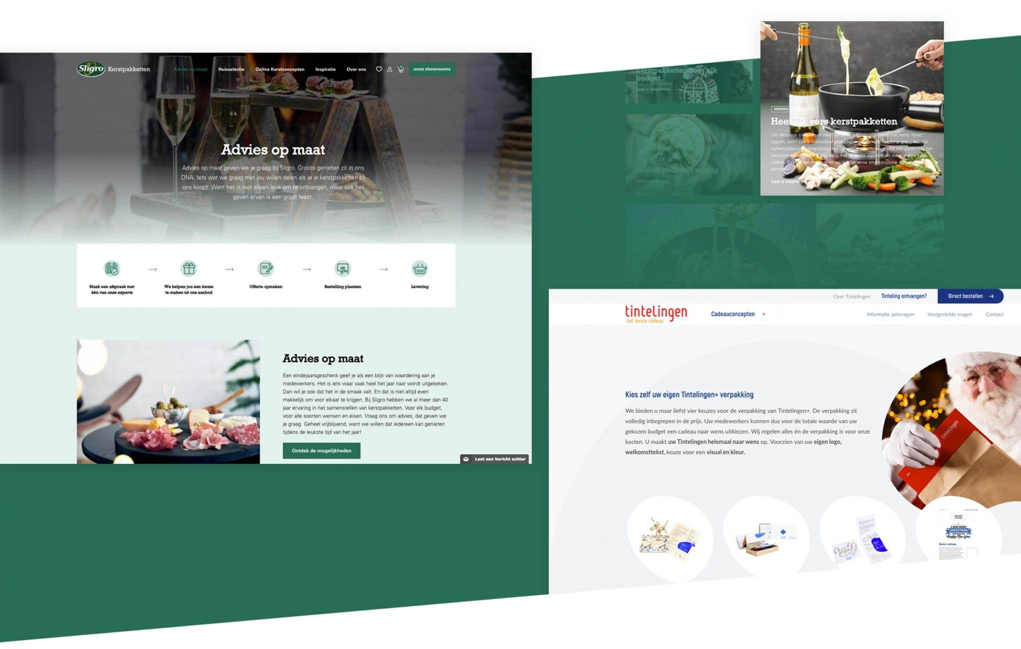 Screenshots website Sligro en Tintelingen