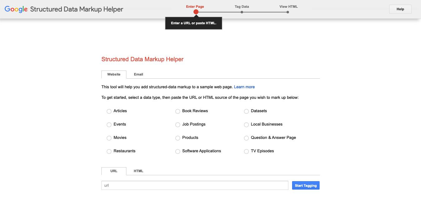Googles Structured Data Markup Helper is een handige tool om je structured data te beheren.