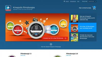 Screenshot website Kinepolis filmdoosje